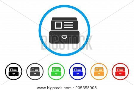 Card Index rounded icon. Style is a flat card index gray symbol inside light blue circle with black, gray, green, blue, red, orange color versions. Vector designed for web and software interfaces.