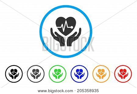 Cardiology Care Hands rounded icon. Style is a flat cardiology care hands grey symbol inside light blue circle with black, gray, green, blue, red, orange variants.
