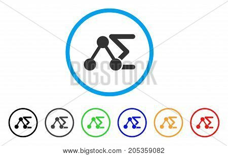 Chemical Formula rounded icon. Style is a flat chemical formula grey symbol inside light blue circle with black, gray, green, blue, red, orange variants.