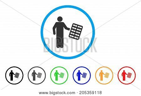 Chemist With Blister rounded icon. Style is a flat chemist with blister grey symbol inside light blue circle with black, gray, green, blue, red, orange variants.