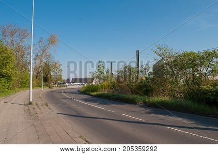 Road in the suburbs of Rostock Germany