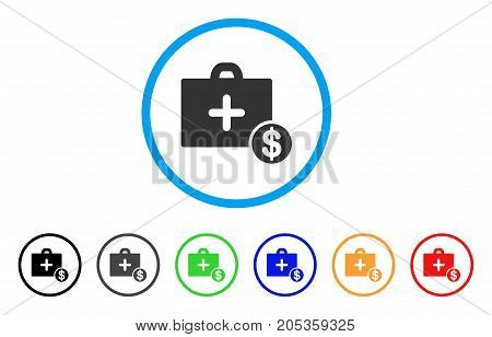 Commercial Medicine Case rounded icon. Style is a flat commercial medicine case grey symbol inside light blue circle with black, gray, green, blue, red, orange variants.