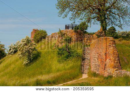 Vordingborg Castle ruins in Denmark on a summer day