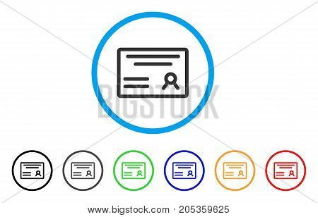 Diploma rounded icon. Style is a flat diploma gray symbol inside light blue circle with black, gray, green, blue, red, orange variants. Vector designed for web and software interfaces.