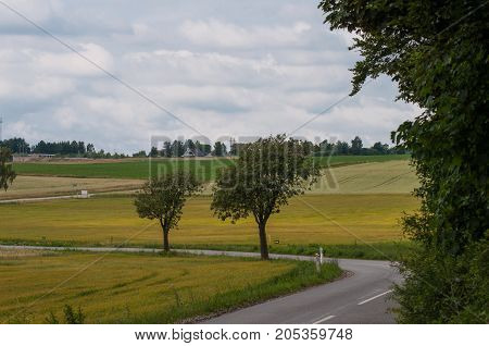 Danish countryside on a cloudy summer day