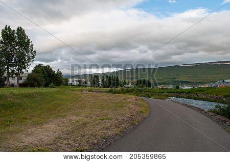 Path along river Glera in Akureyri Iceland
