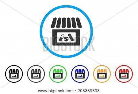 Drug Shop rounded icon. Style is a flat drug shop grey symbol inside light blue circle with black, gray, green, blue, red, orange variants. Vector designed for web and software interfaces.