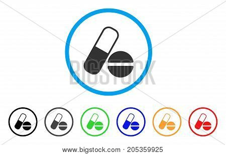 Drugs rounded icon. Style is a flat drugs grey symbol inside light blue circle with black, gray, green, blue, red, orange variants. Vector designed for web and software interfaces.