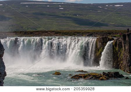 waterfall Godafoss in North Iceland on a summer day