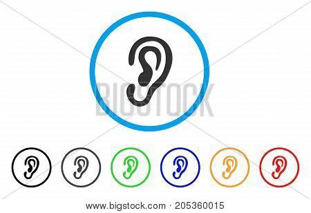 Ear rounded icon. Style is a flat ear gray symbol inside light blue circle with black, gray, green, blue, red, orange variants. Vector designed for web and software interfaces.