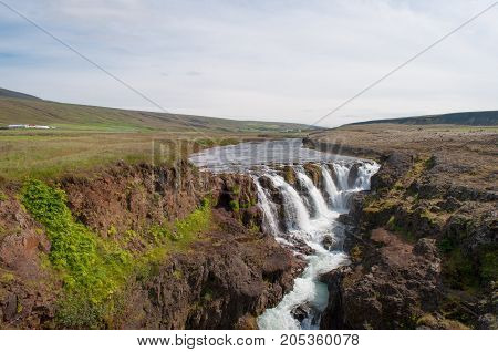 Kolufossar waterfall in North Iceland on a summer day