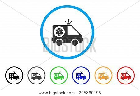 Emergency rounded icon. Style is a flat emergency gray symbol inside light blue circle with black, gray, green, blue, red, orange color versions. Vector designed for web and software interfaces.