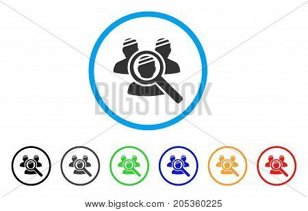 Explore Patients rounded icon. Style is a flat explore patients gray symbol inside light blue circle with black, gray, green, blue, red, orange color versions.
