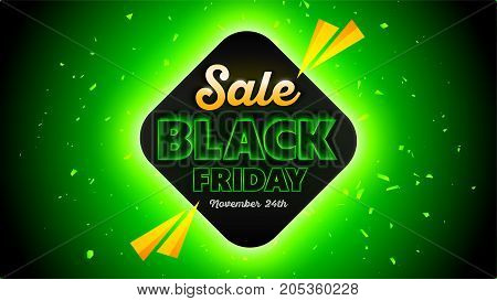 Black Friday sales background 16x9 template, special offer, end of season. Vector illustration