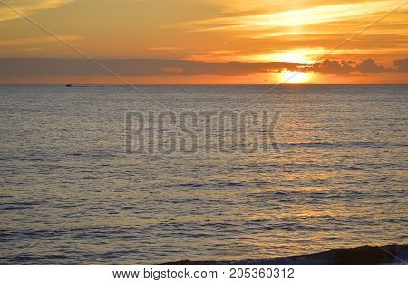 Sunset on the Mediterranean sea in Portugal