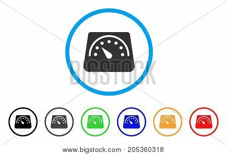 Floor Scales rounded icon. Style is a flat floor scales grey symbol inside light blue circle with black, gray, green, blue, red, orange variants. Vector designed for web and software interfaces.