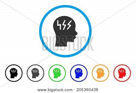 Headache rounded icon. Style is a flat headache grey symbol inside light blue circle with black, gray, green, blue, red, orange variants. Vector designed for web and software interfaces.