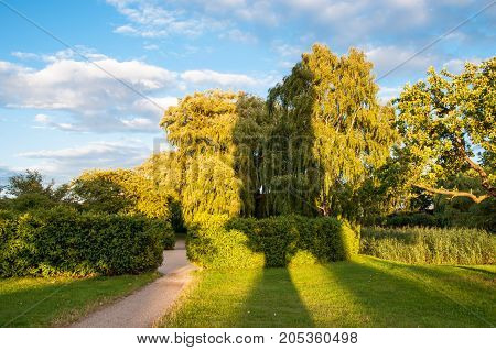 a park in Vordingborg Denmark on a sunny evening