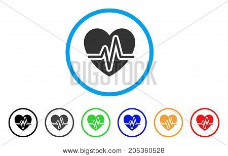Heart Pulse rounded icon. Style is a flat heart pulse grey symbol inside light blue circle with black, gray, green, blue, red, orange versions. Vector designed for web and software interfaces.