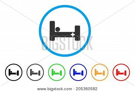 Hospital Bed rounded icon. Style is a flat hospital bed gray symbol inside light blue circle with black, gray, green, blue, red, orange variants. Vector designed for web and software interfaces.