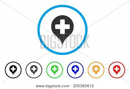 Hospital Cross Map Marker rounded icon. Style is a flat hospital cross map marker gray symbol inside light blue circle with black, gray, green, blue, red, orange versions.