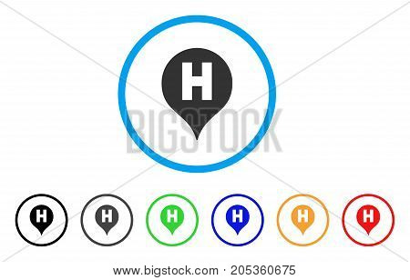 Hospital Letter Marker rounded icon. Style is a flat hospital letter marker gray symbol inside light blue circle with black, gray, green, blue, red, orange color versions.
