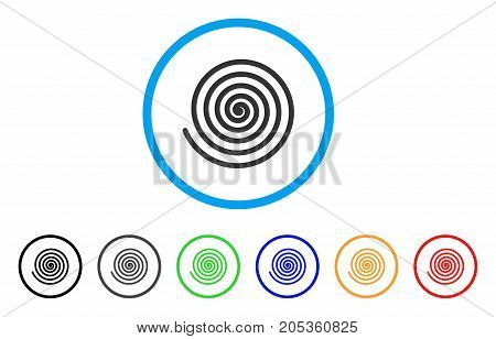 Hypnosis Spiral rounded icon. Style is a flat hypnosis spiral grey symbol inside light blue circle with black, gray, green, blue, red, orange color versions.