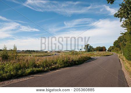 Ugledigevej Road In Town Of Oerslev In Denmark