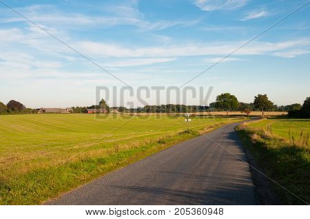 Danish Countryside Road Near Ugledige In Denmark