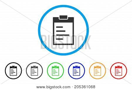 Inventory Pad rounded icon. Style is a flat inventory pad grey symbol inside light blue circle with black, gray, green, blue, red, orange versions. Vector designed for web and software interfaces.
