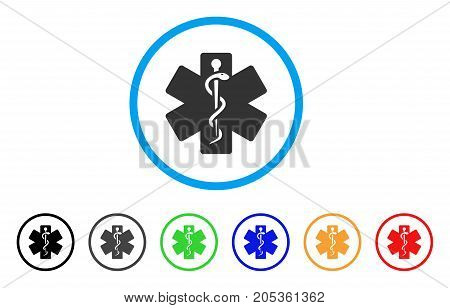 Life Star Medical Emblem rounded icon. Style is a flat life star medical emblem grey symbol inside light blue circle with black, gray, green, blue, red, orange versions.