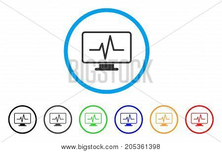 Line Chart Monitoring rounded icon. Style is a flat line chart monitoring grey symbol inside light blue circle with black, gray, green, blue, red, orange versions.