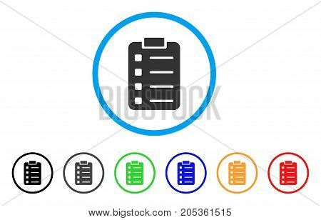 List Pad rounded icon. Style is a flat list pad gray symbol inside light blue circle with black, gray, green, blue, red, orange color versions. Vector designed for web and software interfaces.