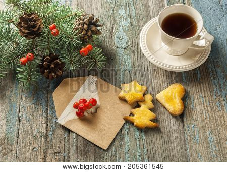 Christmas card on a wooden surface, Christmas greeting,