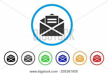 Mail rounded icon. Style is a flat mail grey symbol inside light blue circle with black, gray, green, blue, red, orange variants. Vector designed for web and software interfaces.