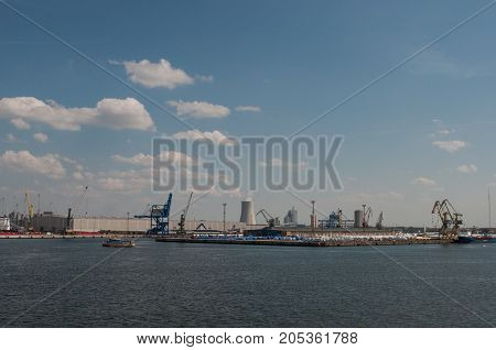 Rostock induistrial harbor in Germany on a sunny day