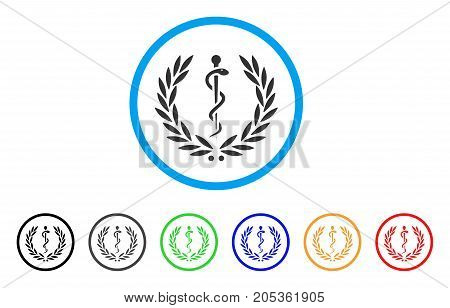 Medical Honor Laurel Wreath rounded icon. Style is a flat medical honor laurel wreath gray symbol inside light blue circle with black, gray, green, blue, red, orange color versions.
