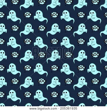 Abstract seamless pattern for girls or boys. Creative vector background with ghost cloud boo halloween. Funny wallpaper for textile and fabric. Fashion style. Colorful bright picture for children.