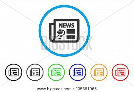 Medical Newspaper rounded icon. Style is a flat medical newspaper gray symbol inside light blue circle with black, gray, green, blue, red, orange variants.
