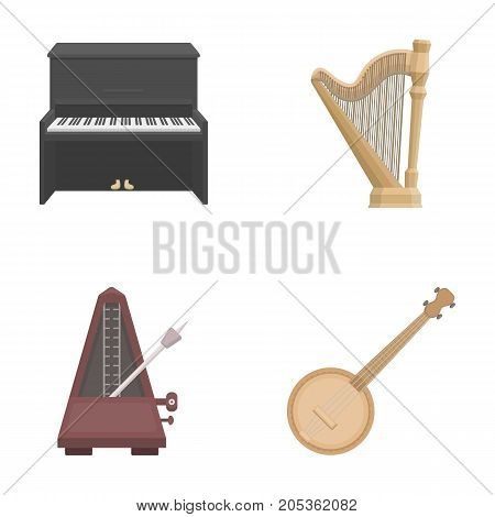 Banjo, piano, harp, metronome. Musical instruments set collection icons in cartoon style vector symbol stock illustration .