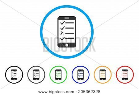 Mobile Todo List rounded icon. Style is a flat mobile todo list gray symbol inside light blue circle with black, gray, green, blue, red, orange variants.
