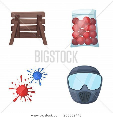 Wooden barricade, protective mask and other accessories. Paintball single icon in cartoon style vector symbol stock illustration .