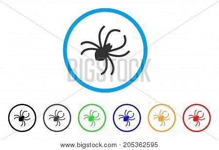 Parasite Spider rounded icon. Style is a flat parasite spider gray symbol inside light blue circle with black, gray, green, blue, red, orange color versions.