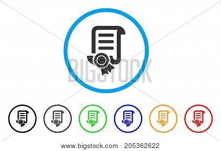 Patent rounded icon. Style is a flat patent grey symbol inside light blue circle with black, gray, green, blue, red, orange color versions. Vector designed for web and software interfaces.