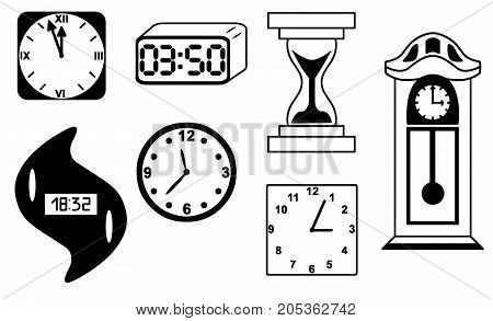 Clock watch hourglass vector icon isolated silhouette illustration sketch