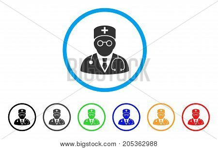 Physician rounded icon. Style is a flat physician gray symbol inside light blue circle with black, gray, green, blue, red, orange variants. Vector designed for web and software interfaces.