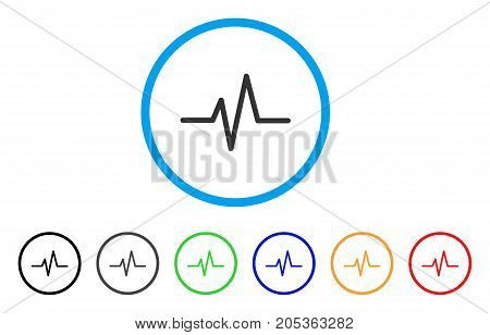 Pulse Curve rounded icon. Style is a flat pulse curve gray symbol inside light blue circle with black, gray, green, blue, red, orange color versions. Vector designed for web and software interfaces.