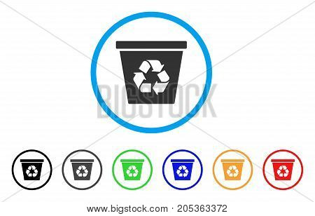 Recycle Bin rounded icon. Style is a flat recycle bin grey symbol inside light blue circle with black, gray, green, blue, red, orange color versions. Vector designed for web and software interfaces.