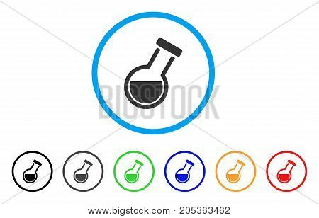 Retort rounded icon. Style is a flat retort grey symbol inside light blue circle with black, gray, green, blue, red, orange color versions. Vector designed for web and software interfaces.