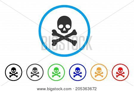 Skull And Crossbones rounded icon. Style is a flat skull and crossbones gray symbol inside light blue circle with black, gray, green, blue, red, orange color versions.